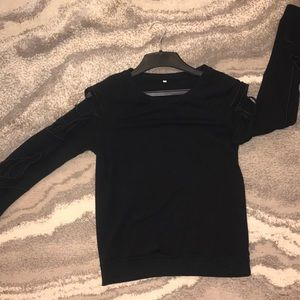 Sweaters - Crewneck Sweater with Peek-a-boo Arms
